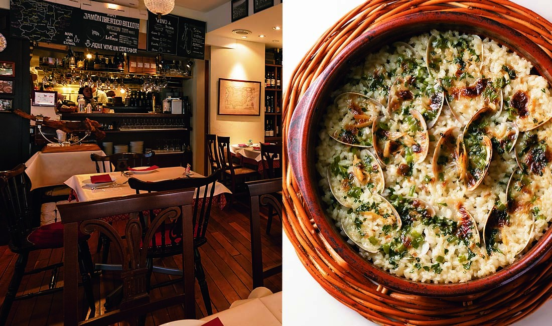 バスク料理の「土鍋で炊いたアサリの白いパエリア」
