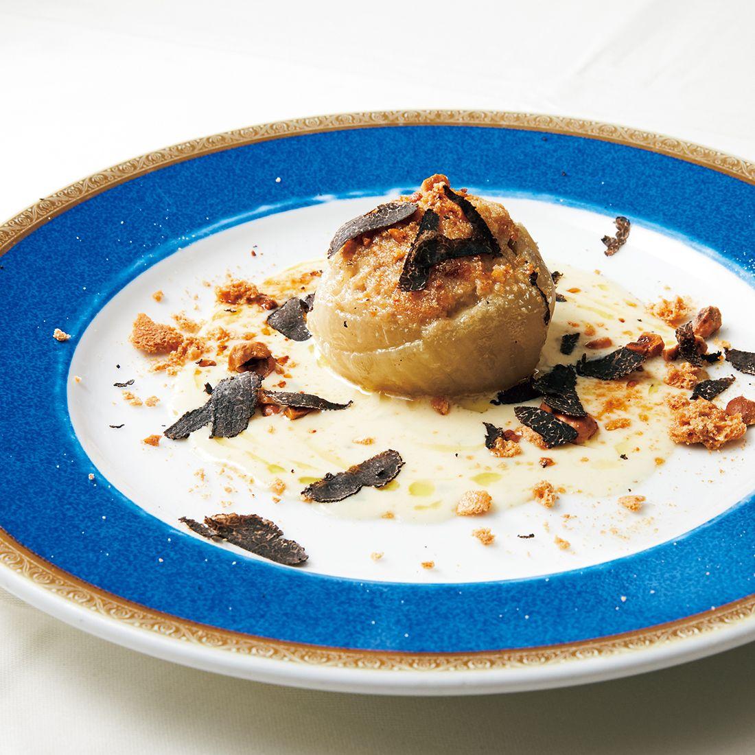 「ローストした玉葱の詰め物ピエモンテ風チーズのソース トンダジェンティーレと共に」