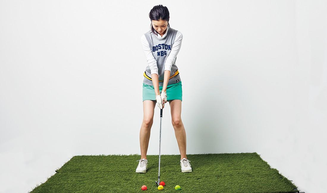 3つのボール位置から同じ方向に打ちだせれば、インパクト時のフェース面の動きが正しくなり絶対に当てられるようになる。