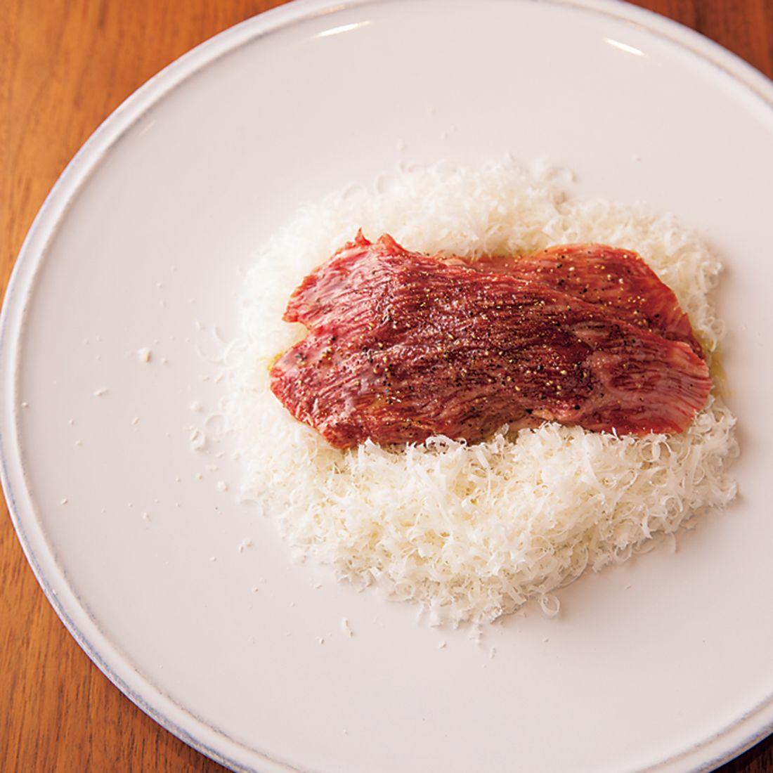 「国産 和牛モモ肉のカルパッチョ」