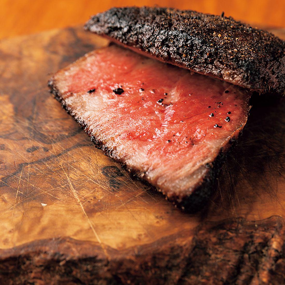 「三田牛モモ肉のステーキ」