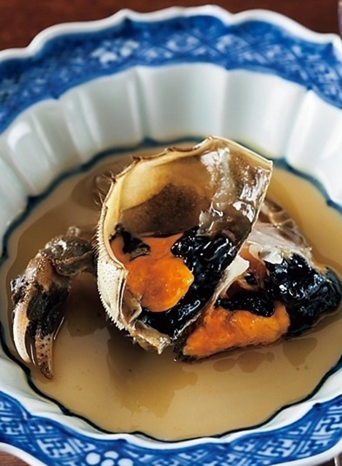 冬季限定の上海蟹のシェリー酒漬け。