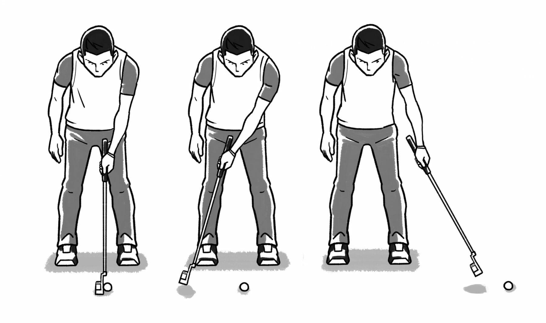 ラウンド前の練習グリーンなどで行うドリル。