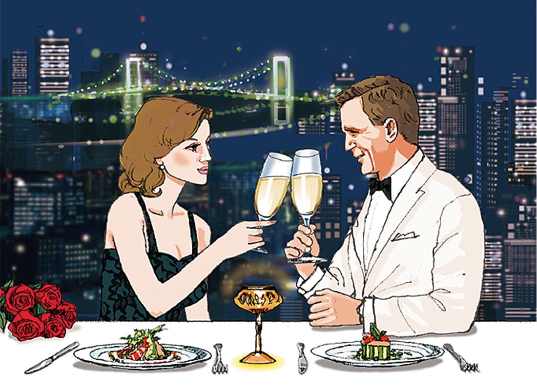 ボンドがリンド・ヴェスパーに求婚する大切なディナー。