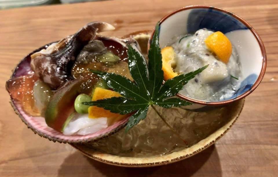 生鳥貝生蛸の土佐酢ジュレ 生しらすチーズ和え