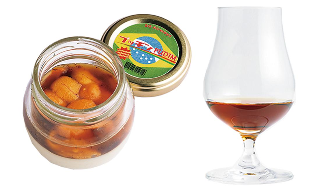"""ブラジルの""""プジン""""をアレンジしたウニのプリンとカカオ風味のカクテル。"""